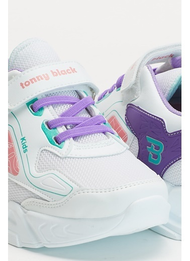 Tonny Black Beyaz Mor Çocuk Spor Ayakkabı Tbz31 Beyaz
